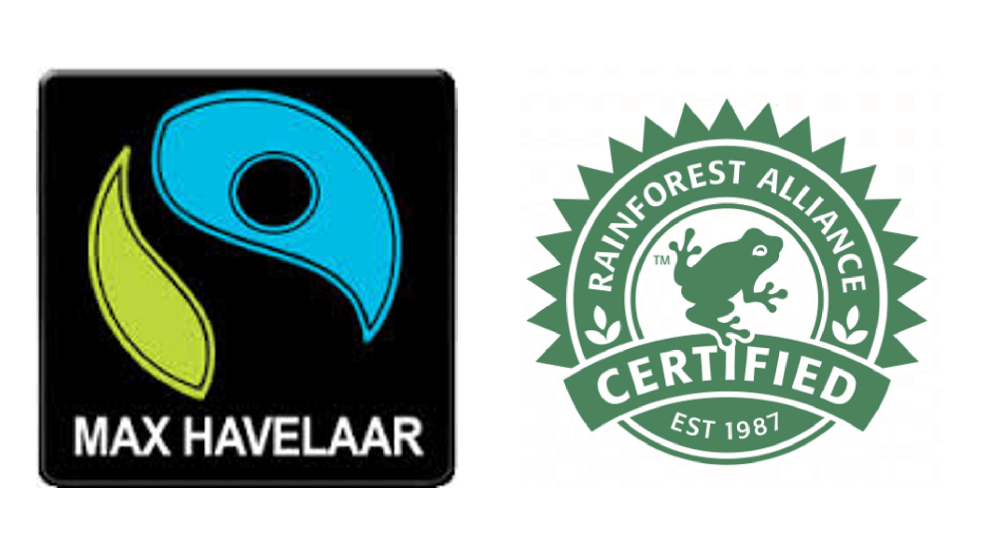 Logos des labels Max Haavelaar et RainForest